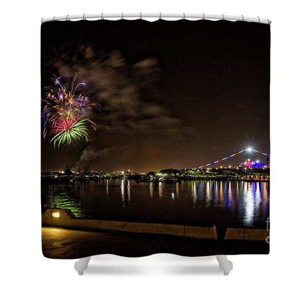 Midway Fireworks  Shower Curtain