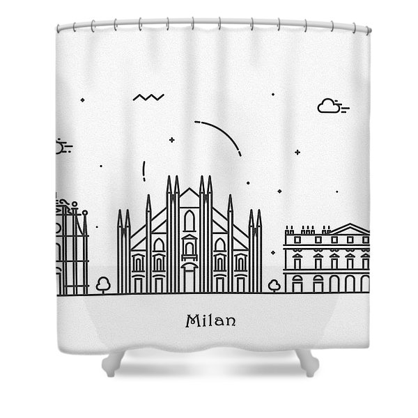 Milan Cityscape Travel Poster Shower Curtain