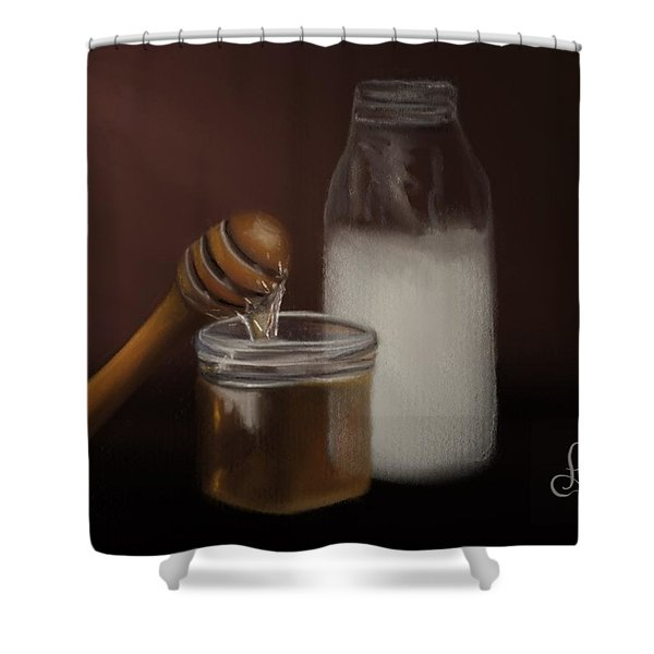 Shower Curtain featuring the painting Milk And Honey  by Fe Jones