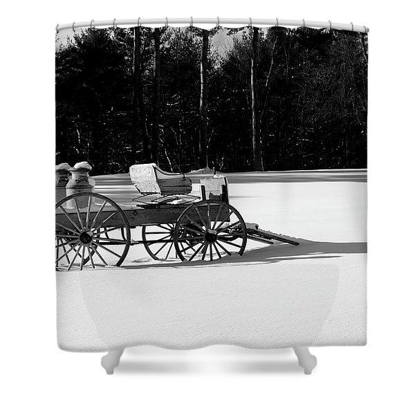 Shower Curtain featuring the photograph Milk Wagon Monochrome by Wayne King