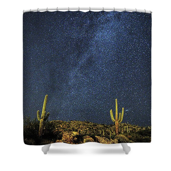 Milky Way And Cactus Shower Curtain