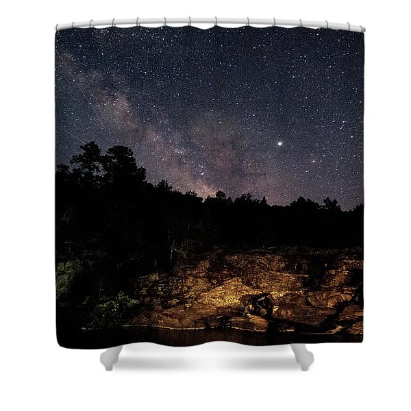 Milky Way At Rocky Falls Shower Curtain