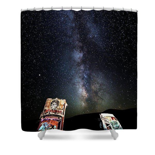 Milky Way Over Mojave Desert Graffiti 1 Shower Curtain