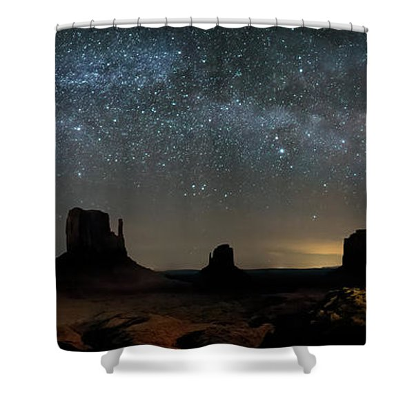 Milky Way Over Monument Valley Shower Curtain
