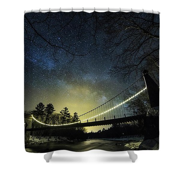 Milky Way Over The Wire Bridge Shower Curtain
