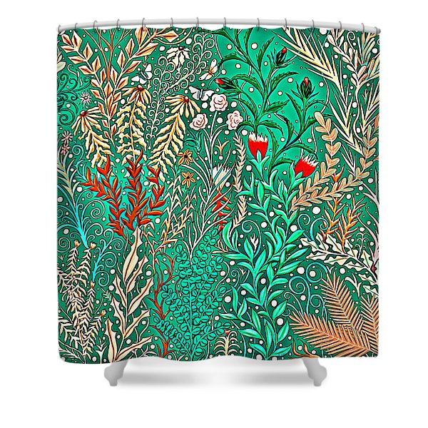 Millefleurs Home Decor Design In Brilliant Green And Light Oranges With Leaves And Flowers Shower Curtain