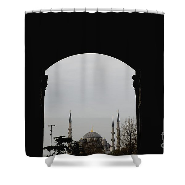 minarets in the city for the prayer of the Muslim religion Shower Curtain