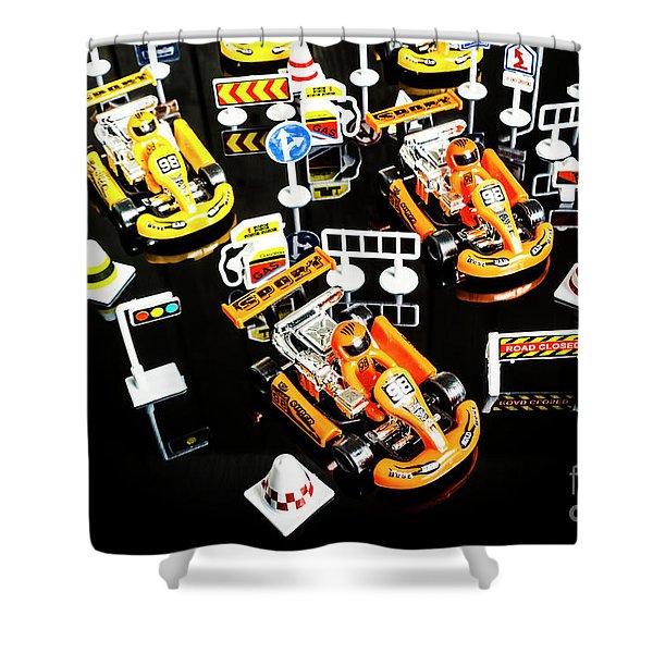 Miniature Motorsports Shower Curtain