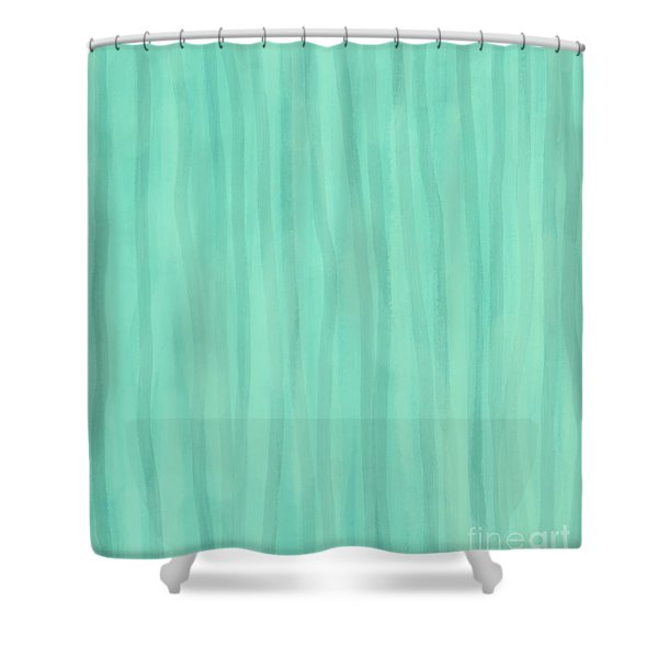 Mint Green Lines Shower Curtain
