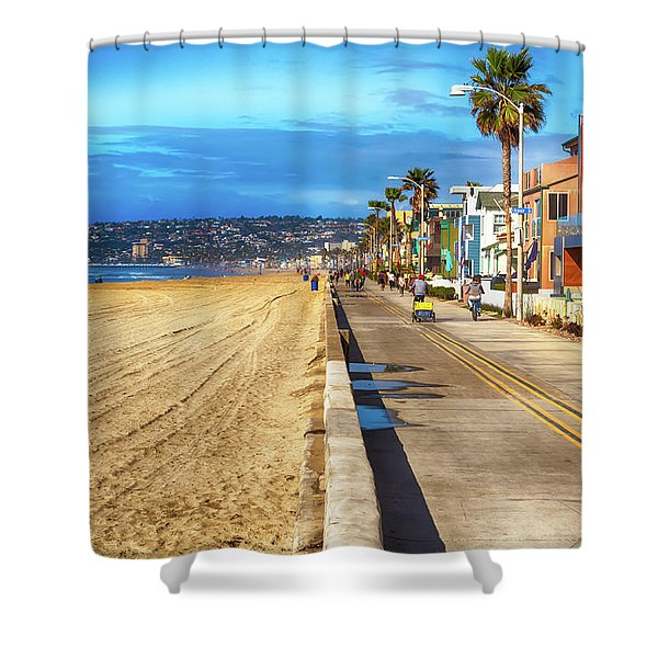 Mission Beach Boardwalk Shower Curtain