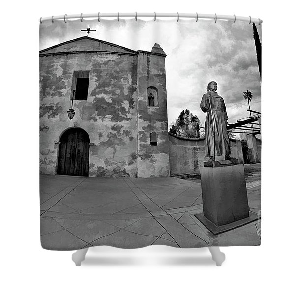 Mission San Gabriel San Gabriel Ca Black And White Shower Curtain