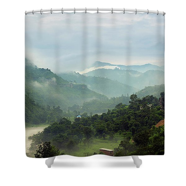 Shower Curtain featuring the photograph Misty Mountains by Whitney Goodey