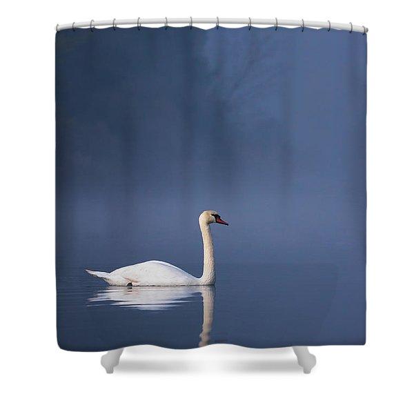 Misty River Swan 2 Shower Curtain