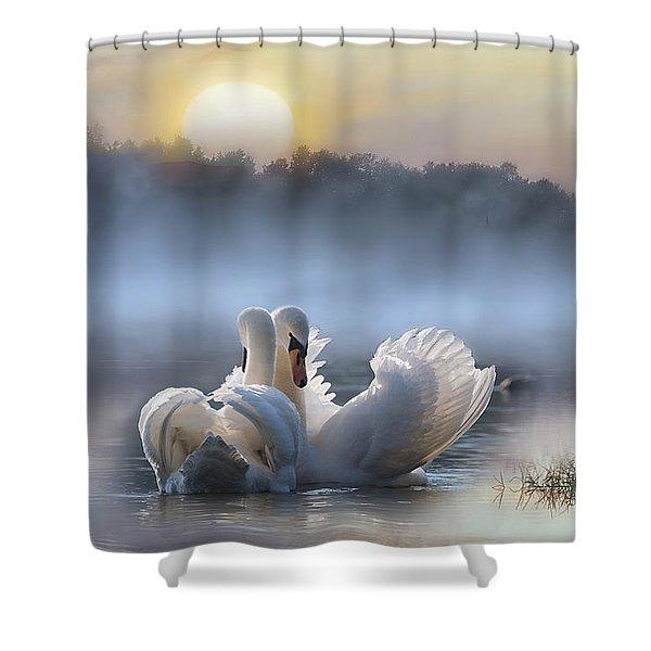 Misty Swan Lake Shower Curtain
