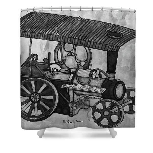 Old Model Steam Tractor  Shower Curtain