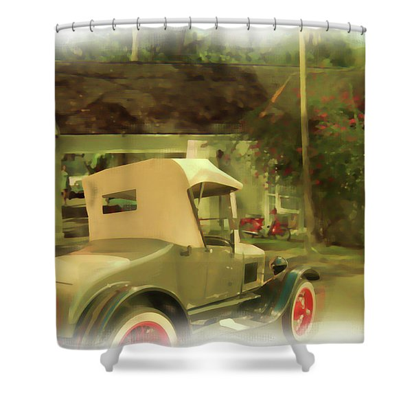 Shower Curtain featuring the digital art Model T In Barbados by Tristan Armstrong