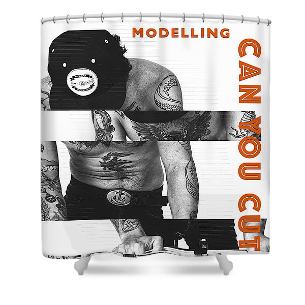 Shower Curtain featuring the digital art Modelling Can You Cut It? by ISAW Company