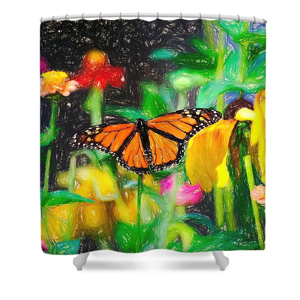 Monarch Butterfly Colored Pencil Shower Curtain