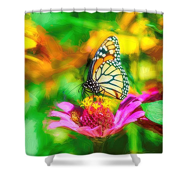Monarch Butterfly Impasto Colorful Shower Curtain