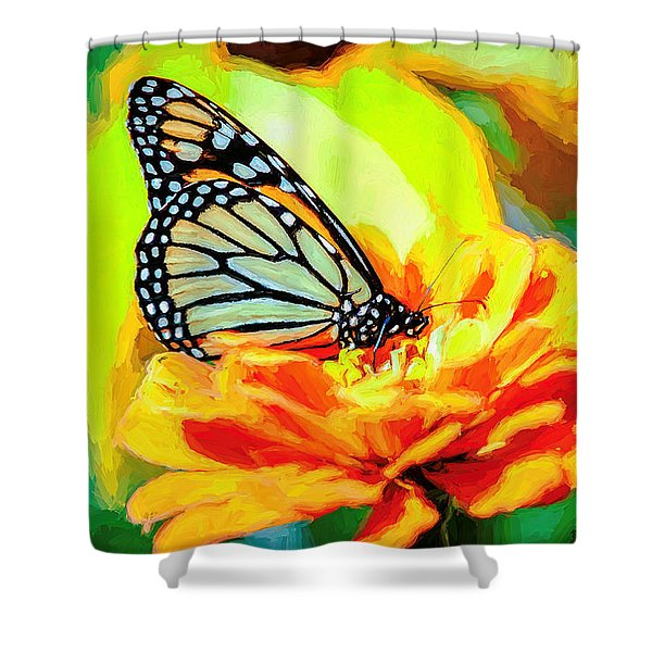 Monarch Butterfly Van Gogh Style Shower Curtain