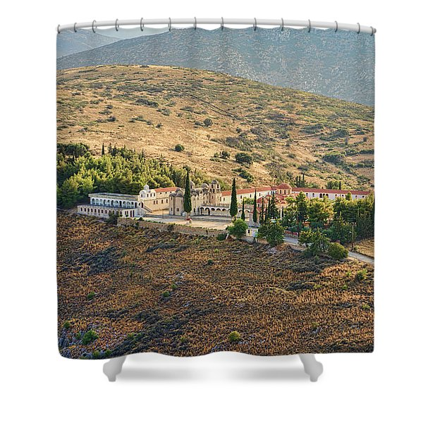 Shower Curtain featuring the photograph Monastery Agion Anargiron Above Argos by Milan Ljubisavljevic