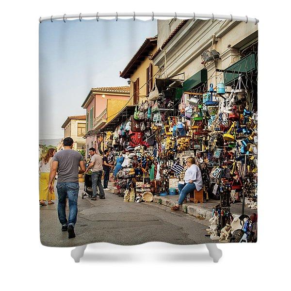 Shower Curtain featuring the photograph Monastiraki  Colours by Juan Contreras
