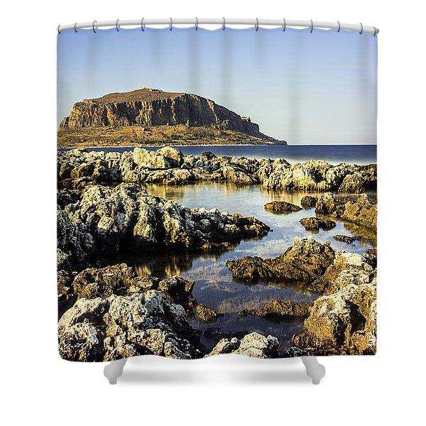 Monemvasia Rock Shower Curtain