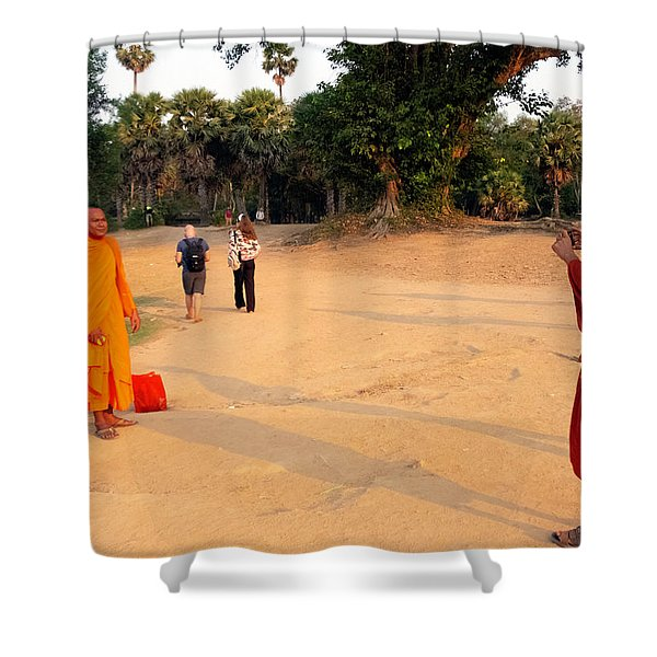 Monks At Ankgor Wat, Cambodia Shower Curtain