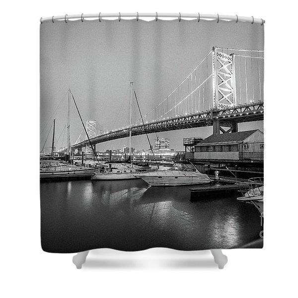 Monochrome Marina  Shower Curtain