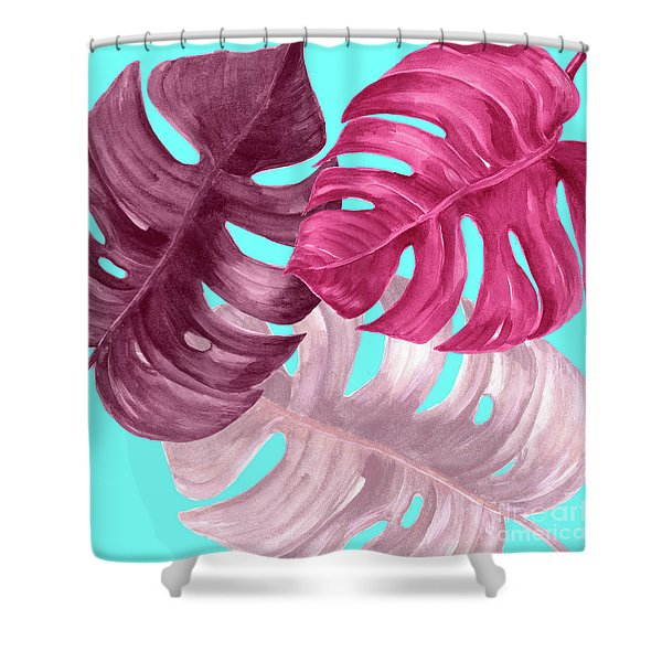 Monstera Leaf In Pink  Shower Curtain