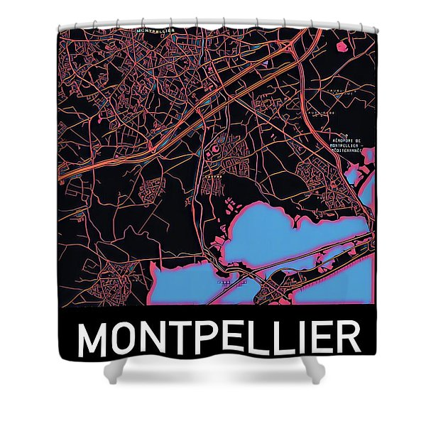 Montpellier City Map Shower Curtain