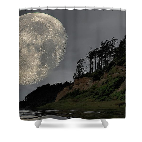 Moon And Beach Shower Curtain