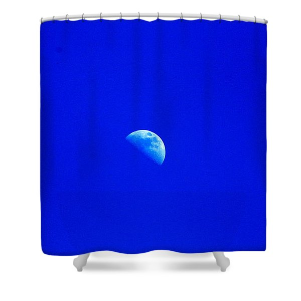 Moon In A Daytime Sky Shower Curtain