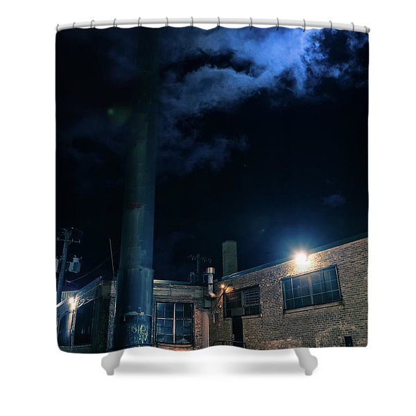 Moon Over Industrial Chicago Alley Shower Curtain