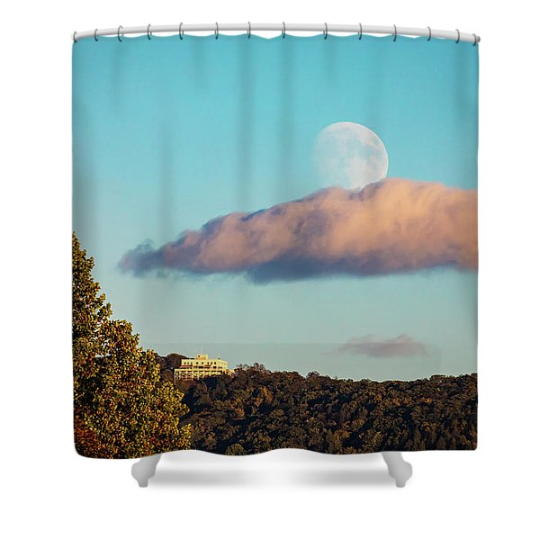 Moon Over Summit House Shower Curtain