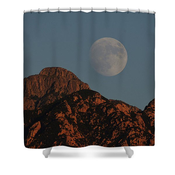Moon Rise Over Mount Wrightson  Shower Curtain