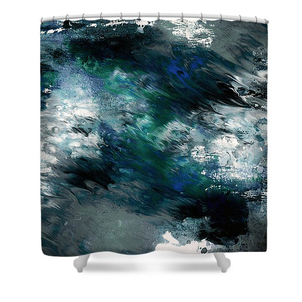 Moonlight Ocean- Abstract Art By Linda Woods Shower Curtain