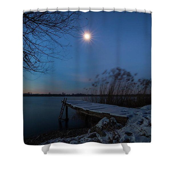 Moonlight Over The Lake Shower Curtain