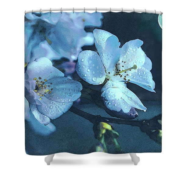 Moonlit Night In The Blooming Garden Shower Curtain