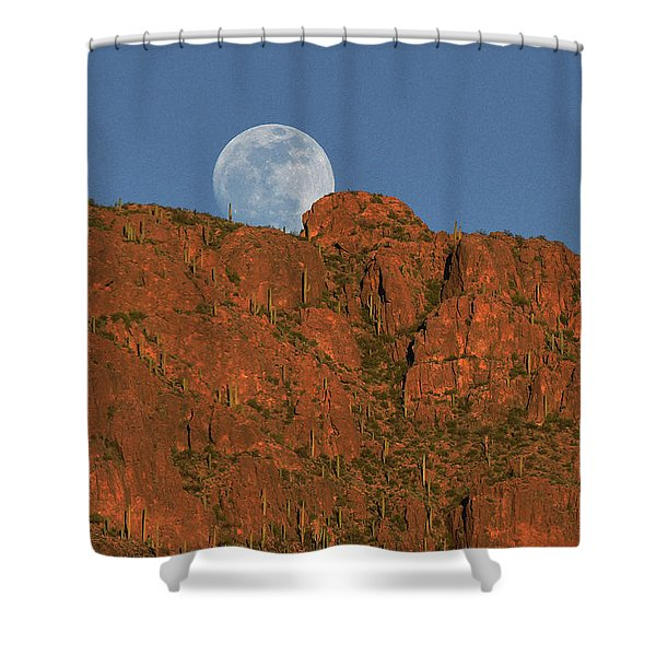 Moonrise Over The Tucson Mountains Shower Curtain