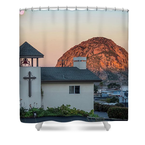 Moonset Above Morro Rock Shower Curtain