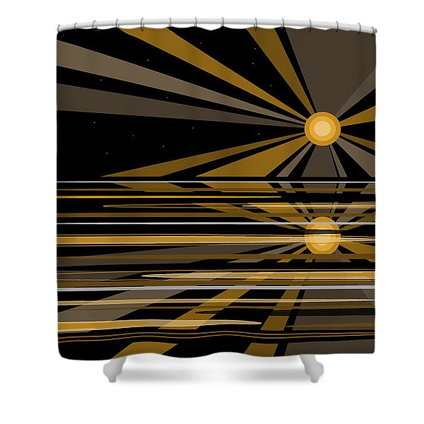 Moonshine In Black And Gold Shower Curtain