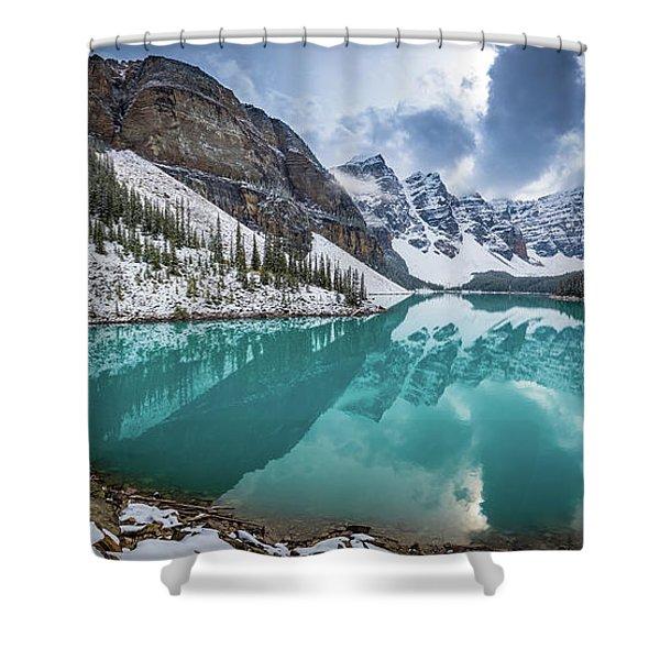 Moraine Lake Panorama Shower Curtain