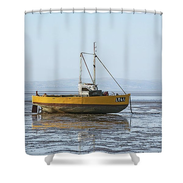 Morecambe. Yellow Fishing Boat. Shower Curtain