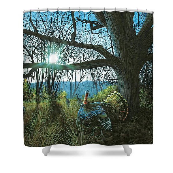 Morning Chat - Turkey Shower Curtain