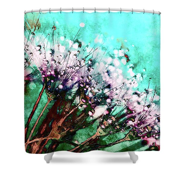 Morning Dew On Dandelions Shower Curtain