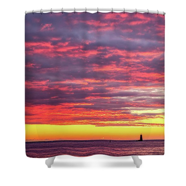 Shower Curtain featuring the photograph Morning Fire Over Whaleback Light by Jeff Sinon