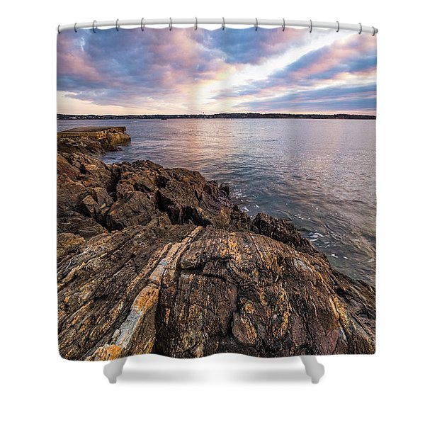 Shower Curtain featuring the photograph Morning Light Over The Piscataqua River. by Jeff Sinon