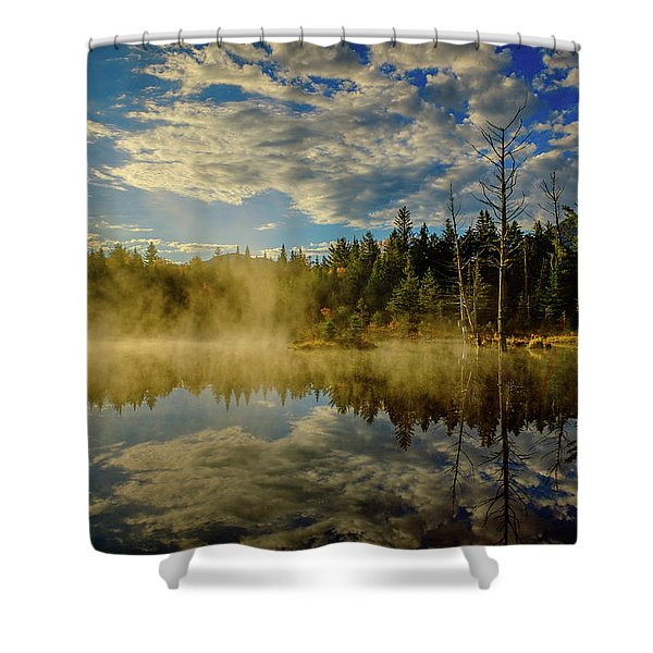 Shower Curtain featuring the photograph Morning Mist, Wildlife Pond  by Jeff Sinon