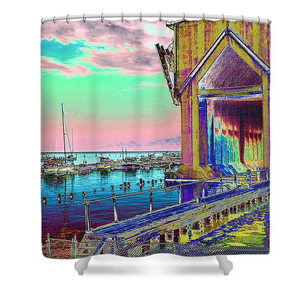 Morning Pink Marquette Ore Dock Shower Curtain